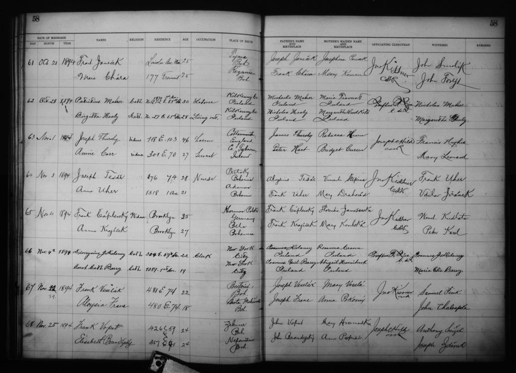 1894 Marriage Record - Our Lady of Perpetual Help Roman Catholic Church Parish